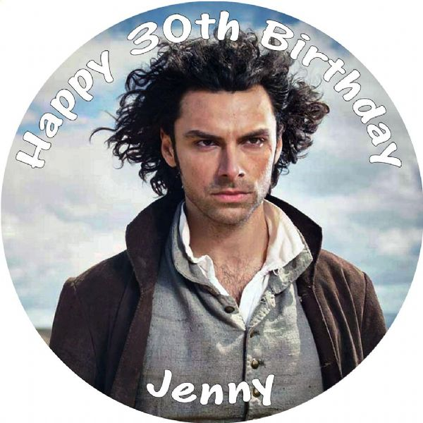 POLDARK AIDEN TURNER EDIBLE ROUND BIRTHDAY CAKE PERSONALISED DECORATION
